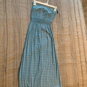 Teal patterned maxi dress